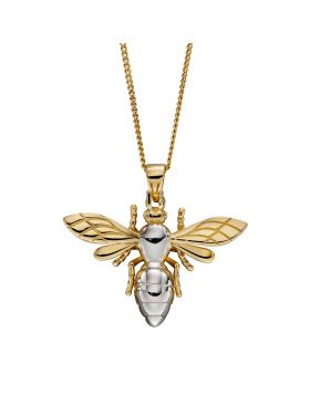 Slim Line Bee Pendant in Yellow and White Gold (GP2270)