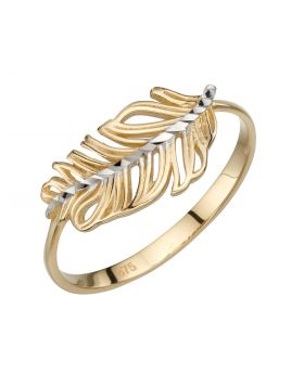 Feather Ring in Yellow and White Gold (GR570)