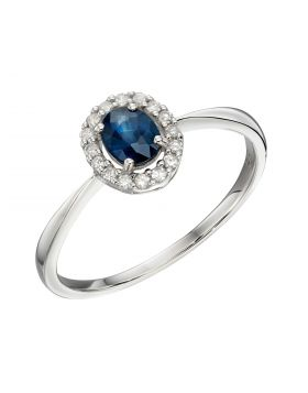 Cluster Blue Sapphire Ring in White Gold (GR571L)