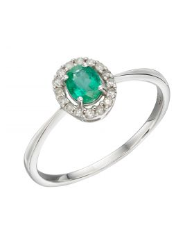 Cluster Emerald Ring in White Gold (GR572G)