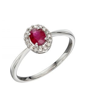 Cluster Ruby Ring in White Gold (GR573R)