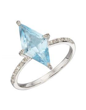 Kite Shaped Blue Topaz Ring in White Gold (GR575T)
