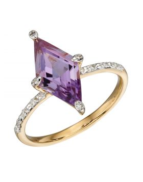 Kite Shaped Amethyst Ring in Yellow Gold (GR576M)