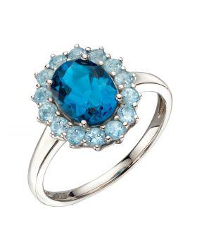 Blue Topaz Ring in White Gold (GR577T)