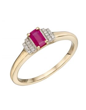 Ruby Baguette Ring in Yellow Gold (GR580R)