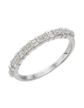 Baguette Bar Diamond Ring in White Gold (GR582)