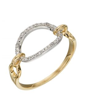Oval Bar Ring with Diamonds in Yellow and White Gold (GR584)
