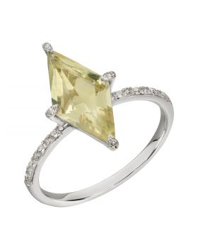 Kite Shaped Lemon Quartz Ring in White Gold (GR586Y)