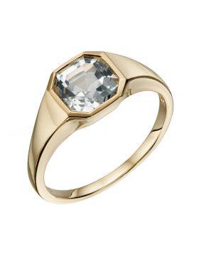 Asscher Cut White Topaz Ring in Yellow Gold (GR590C)