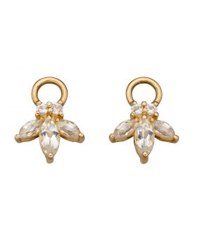 White Topaz Flower Navette Charms in Yellow Gold (GY014C)