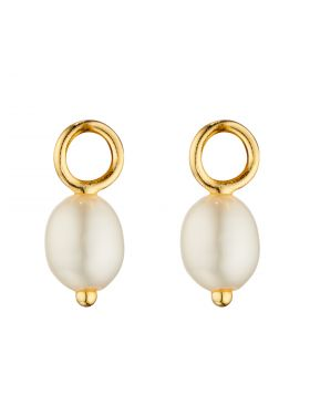 Fresh Water Pearl Assembled Hoop Earring Charms in Yellow Gold (GY017W)