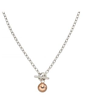 T-Bar Rose Gold Plated Sphere Necklace (N4395)