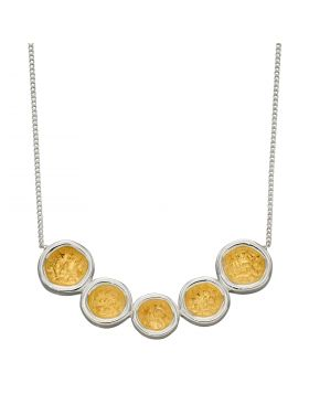 Hammered Disc Necklace with Yellow Gold Detail (N4415)