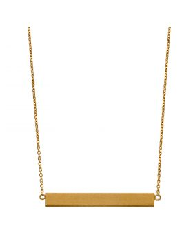 Satin Finish Yellow Gold Plated Horizontal Engravable Bar Necklace (N4427)