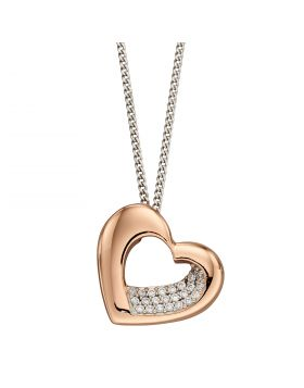 Rose Gold Plated Organic Heart with CZ Pendant (P4894C)