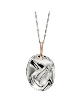 Crinkle Component Silver Pendant with Rose Gold Plating (P4896)