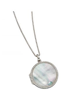 Mother of Pearl Pave Locket with CZ (P4897W)