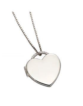 Heart Shaped CZ Pave Locket (P4898C)
