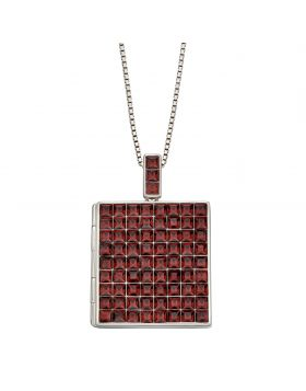 Princess Cut Burgundy Crystal Square Locket (P4901R)