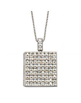 Princess Cut Clear Crystal Square Locket (P4902C)
