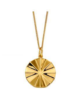 Diamond Cut Bevelled Yellow Gold Plated Pendant (P4904)