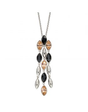 Silver Cascade Pendant with Montana and Peach Crystals (P4910)