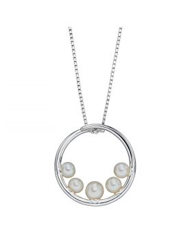 Circular Pendant with Freshwater Pearls (P4924W)