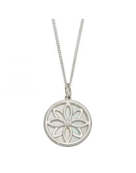Double Sided Mother of Pearl Disc Pendant with CZ (P4955)