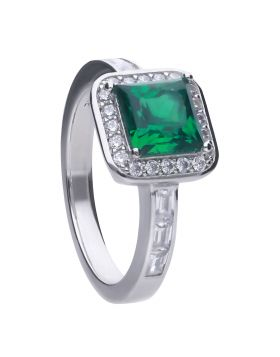Art Deco Style Emerald Pave Ring with Diamonfire Cubic Zirconia (R3749)