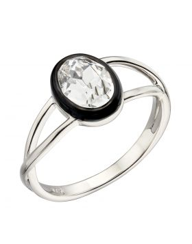 Clear Crystal Ring with Black Enamel Border (R3744C)