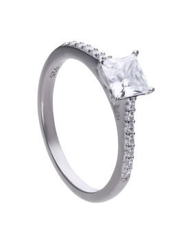Princess Cut Ring with Pave Shoulders with Diamonfire Cubic Zirconia (R3748)
