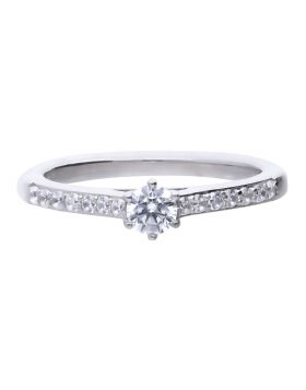 Solitaire Ring with Pave Shoulders with Diamonfire Cubic Zirconia (R3754)