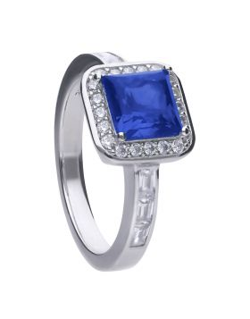 Sapphire Art Deco Vintage Ring with Diamonfire Cubic Zirconia (R3755)