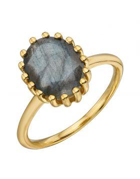 Blue Labradorite Gold Plated Ring (R3759H)