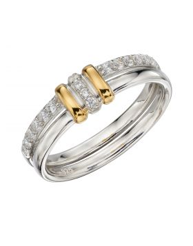 Linked Ring with Yellow Gold Plating and CZ (R3760C)