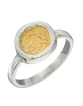 Hammered Disc Ring with Yellow Gold Detail (R3761)