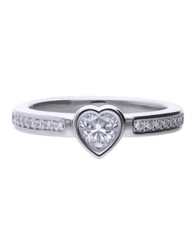 Bezel Heart with Diamonfire Zirconia Ring  (R3763)