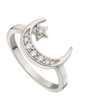 Pave Set Crescent Moon and Star Ring with CZ (R3764C)