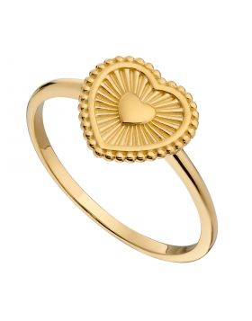Yellow Gold Plated Sunray Texture Heart Ring (R3769)