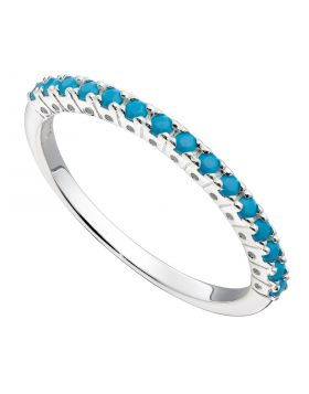 Half Eternity Ring with Turquoise Crystal (R3771T)