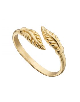 Yellow Gold Plated Feather Wrap Around Toe Ring (R3779)