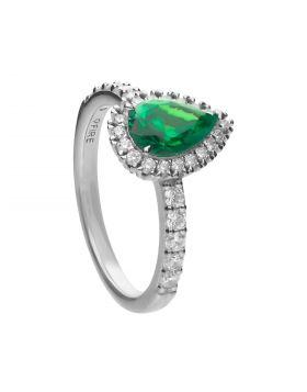 Green Diamonfire Zirconia Teardrop Ring with Pave Surround (R3780)