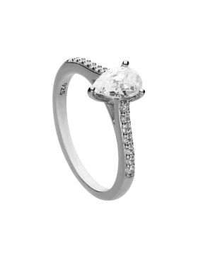 Teardrop Shaped Diamonfire Zirconia Ring with Pave Shoulders (R3781)
