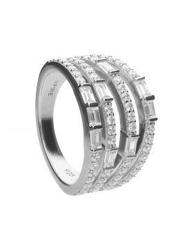 Multiband Statement Baguette Diamonfire Zirconia Ring (R3782)
