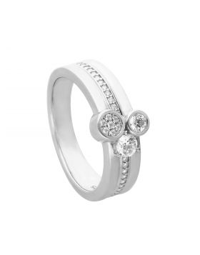 Multi Band Pave Ring with Triple Diamonfire Zirconia Stones (R3784)