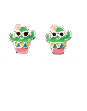 Enamel Cactus Stud Earrings