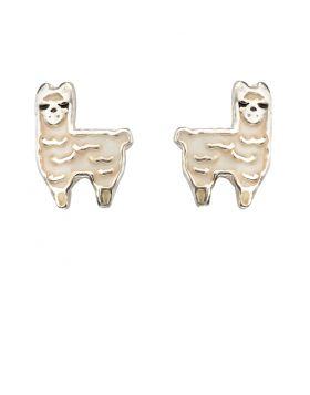 Enamel Llama Stud Earrings