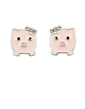Enamel Pig Stud Earrings