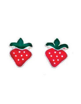 A734R RED Enamel Strawberry STUD