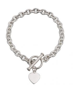 B066 Heart Tag T-Bar 20cm BRACELET